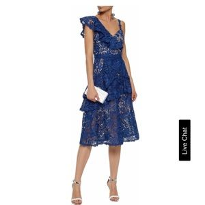 Alice + Olivia ruffle one shoulder lace dress